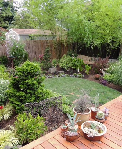 The large deck offers ample space for container plantings