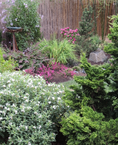 Textural contrast and perennial color provide all-season appeal