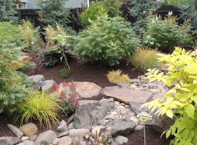 Design incorporated a dry streambed with a stone pathway